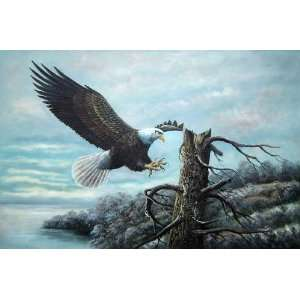 Lakeside American Bald Eagle Oil Painting 24 x 36 inches Home