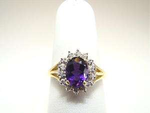 Amethyst and Diamond Split Shank 14K YG Ring Wow Color Nice quality
