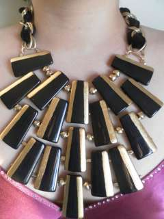 MUSEUM WORTHY RUNWAY PIECE MASSIVE BLACK AND GOLD LAYERED NECKLACE