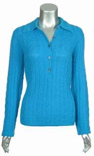 Sutton Studio Womens Cashmere Cable Knit Polo Sweater
