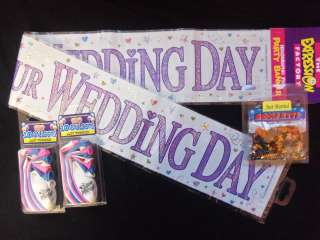 WEDDING DAY PARTY PACK Banner, Balloons, Foiletti JUST MARRIED