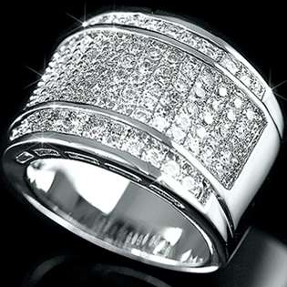 Silver Micropave Bling CZ Iced Out Hip Hop Band Ring Size 9 13