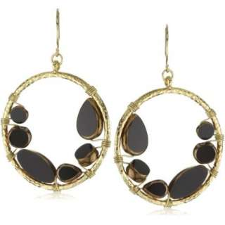 Sparkling Sage Black & Gold Circle Glass Bead Gold one Earrings