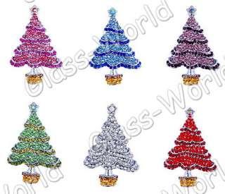 6pcs Christmas Tree Rhinestone Crystal Brooches W26238