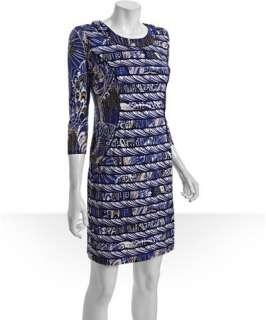 BCBGMAXAZRIA dark regal blue printed jersey crewneck dress