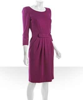 Tahari ASL fuchsia stretch scoop neck button detail dress