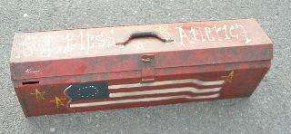 PATRIOTIC KENNEDY CARPENTER TOOLBOX AMERICAN FLAG GOD BLESS AMERICA