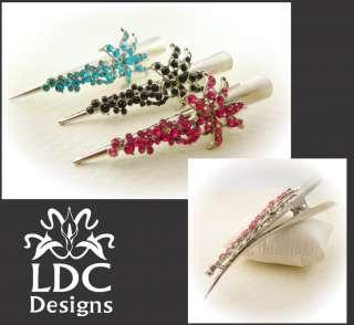 Alligator Barrette Long Stick Hair Clip Claw Fancy Crystal Floral