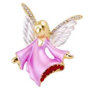 Christmas Angel 1P Brooch Pin Enamel Rhinestone Gold Plated 46*42MM