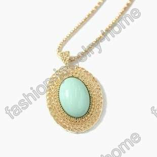 Fashion Oval Red Purple Green Black Pink White Gem Gold Plated Chain