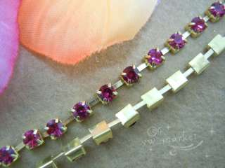 SS8.5 2.6mm Purple Red Crystal Rhinestone Trims Brass Chain 5.8 Meter