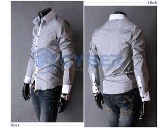 Mens Casual Slim fit Luxury Stylish Long Sleeve Shirts Cotton 4