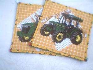 Set 2 quilted pot holders hot pads John Deere Yellow