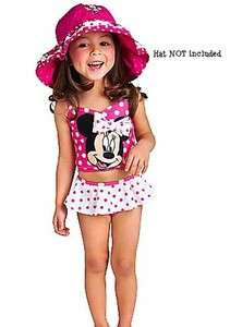 Minnie Mouse 3D Bow Pink & White Polka Dot 2pc Swimsuit 2T 5T DEFECTS