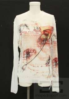 Jean Paul Gaultier Malle White Mesh & Red Logo Distressed Mens Shirt