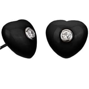 Azar Lucky Hearts Earrings, Black and Silver Petra Azar Jewelry