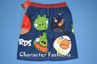 ANGRY BIRDS Swim Trunks Shorts 4 5 6 7 Bathing Suit BOYS RED BLACK