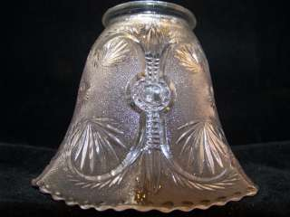 Vintage Glass light lamp shade 6 sided museum piece