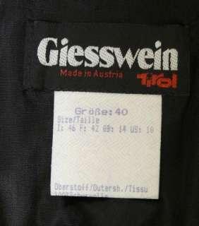 GIESSWEIN BLACK GREEN WOOL Long Full Swing SKIRT 40 8 S
