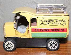 VINTAGE LINE MAR KANSAS CITY DRY GOODS DELIVERY TRUCK FRICTION TIN TOY