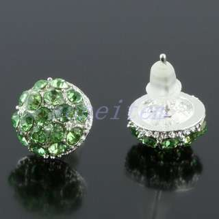 Crystal Rhinestone 10mm Round Mushroom Silver Plated Stud Ear Earrings