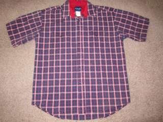 Mens Western Blue Plaid Cowboy Rockabilly Pearl Snap Shirt Sz L