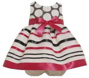 Bonnie Jean Baby Girls Embroidered Circle Organza w/ Satin Bow & Trim