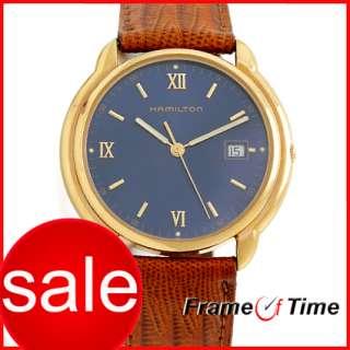 Hamilton Men Vintage Brown Leather Blue Face Gold Watch
