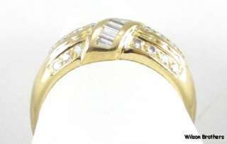 2ctw Baguette & Round DIAMOND Ladies Band RING   14k Yellow Gold A+