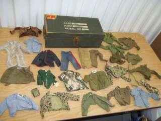 + Vintage 1960s GI Joe Clothing Pieces w/ 12 Inch Gi Joe Foot Locker