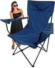 King Pin Folding Camping Chair   New in Box   Black/Red/Blue