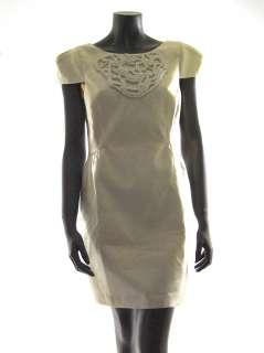 Tibi womens ivory beaded rope detailed bust cap slv silk dress 8 $428