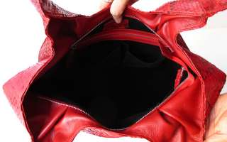 SNAKE LEATHER HANDBAG BAG HOBO LARGE SHINY RED NEW ~ TUFTS