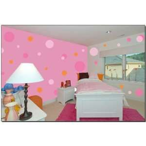 Pink Jumbo Polka Dot Wall Transfer Stickers Mural Baby