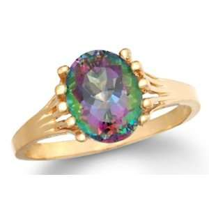 Unique New 2.50 Ct Natural Mystic Topaz 14K Gold Ring Jewelry