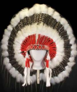Native American Barred Turkey War Bonnet Headdress