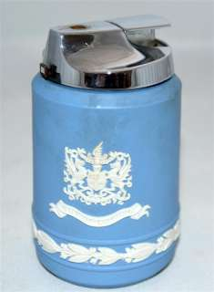 Vintage Wedgewood Blue & White Jasperware Table Lighter W/ City of