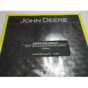 John Deere 1517 1518 2018 Flex Wing Rotary Cutters Operators Manual NEW Bush Hog