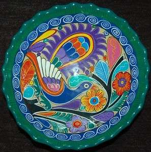 VIBRANT LATIN AMERICAN POTTERY BOWL WITH HAND PAINTED PEACOCK AND