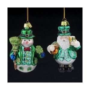 Pack of 8 Luck of the Irish Santa & Snowman Blown Glass
