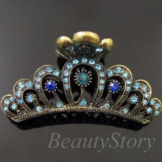 Item  1p rhinestone crystal Antiqued crown hair claw clip