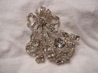 Vintage Clear Rhinestone Bogoff Bow Pin Brooch