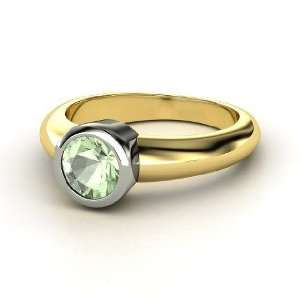 Spotlight Ring, Round Green Amethyst 14K Yellow Gold Ring Jewelry