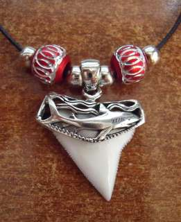 Brite White Shark Tooth Pendant SILVER Necklace RED
