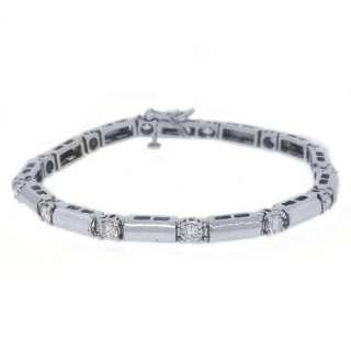 WOMENS DIAMOND TENNIS LINK BRACELET 1.86 CARAT ROUND CUT 14KT WHITE
