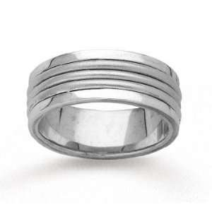 14k White Gold Stylish Harmony Hand Carved Wedding Band Jewelry