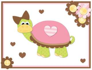 TURTLE PINK BROWN FLOWERS HEARTS NURSERY BABY GIRL WALL BORDER