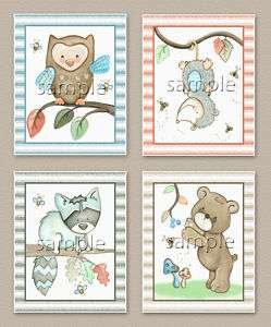 Forest friends, Nursery baby kids wall art. Owl.Raccoon