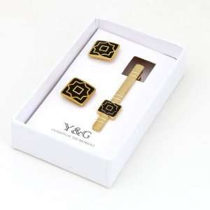 Square Cufflinks Tie Bar Set With Free Gift Box xmas gift Y&G CB2012