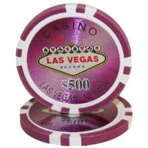 )14 Gram Las Vegas Laser Graphic Poker Chips $500